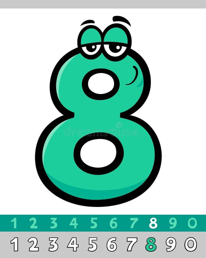 Διανυσματικός αριθμός οκτώ χαρακτήρας κινουμένων σχεδίων διανυσματική απεικόνιση