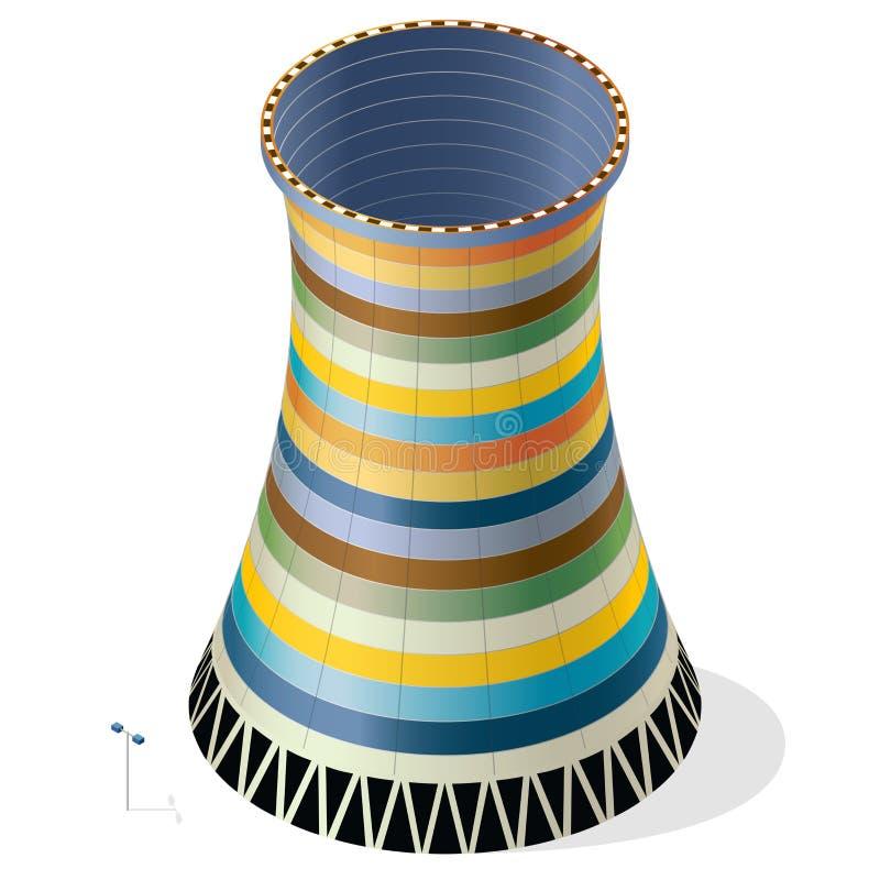 Διανυσματικός αστείος, ζωηρόχρωμος, ριγωτός, δροσίζοντας πύργος του πυρηνικού σταθμού διανυσματική απεικόνιση
