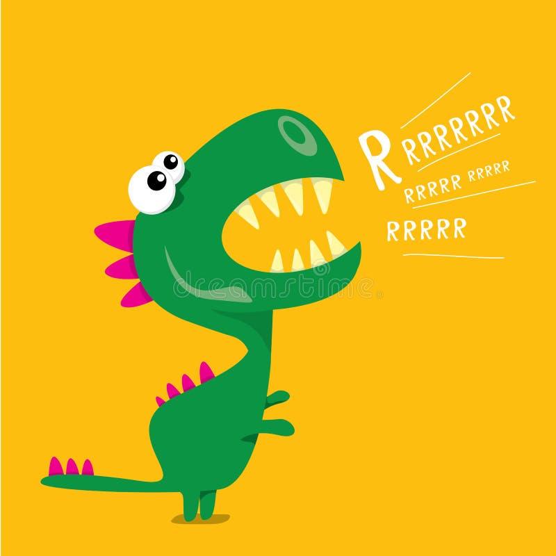 Διανυσματικός αστείος δράκος κινούμενων σχεδίων ο δεινόσαυρος κινούμενων σχεδίων απομόνωσε το λευκό διανυσματική απεικόνιση