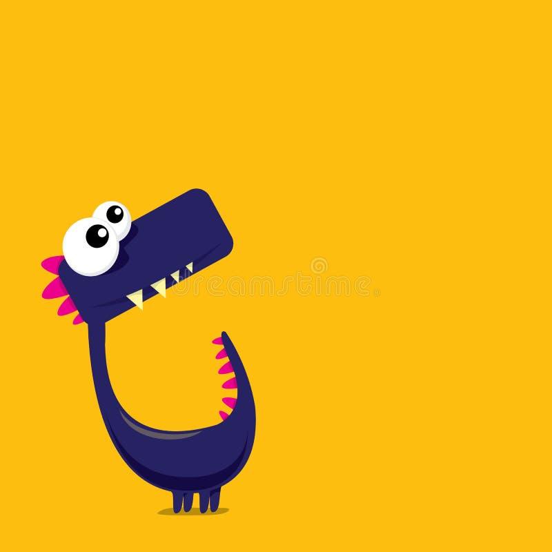 Διανυσματικός αστείος δράκος κινούμενων σχεδίων ο δεινόσαυρος κινούμενων σχεδίων απομόνωσε το λευκό ελεύθερη απεικόνιση δικαιώματος