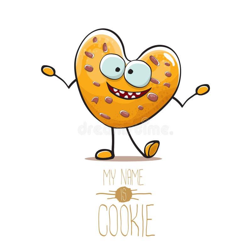 Διανυσματικός αστείος συρμένος χέρι σπιτικός χαρακτήρας μπισκότων μορφής καρδιών τσιπ σοκολάτας που απομονώνεται στο άσπρο υπόβαθ διανυσματική απεικόνιση