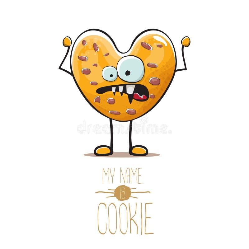 Διανυσματικός αστείος συρμένος χέρι σπιτικός χαρακτήρας μπισκότων μορφής καρδιών τσιπ σοκολάτας που απομονώνεται στο άσπρο υπόβαθ απεικόνιση αποθεμάτων
