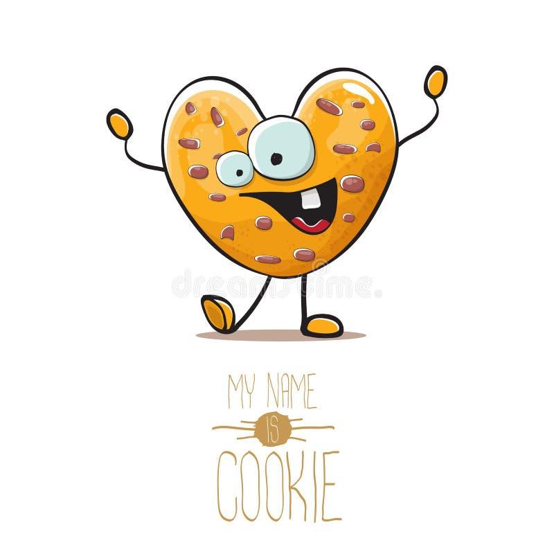 Διανυσματικός αστείος συρμένος χέρι σπιτικός χαρακτήρας μπισκότων μορφής καρδιών τσιπ σοκολάτας που απομονώνεται στο άσπρο υπόβαθ ελεύθερη απεικόνιση δικαιώματος
