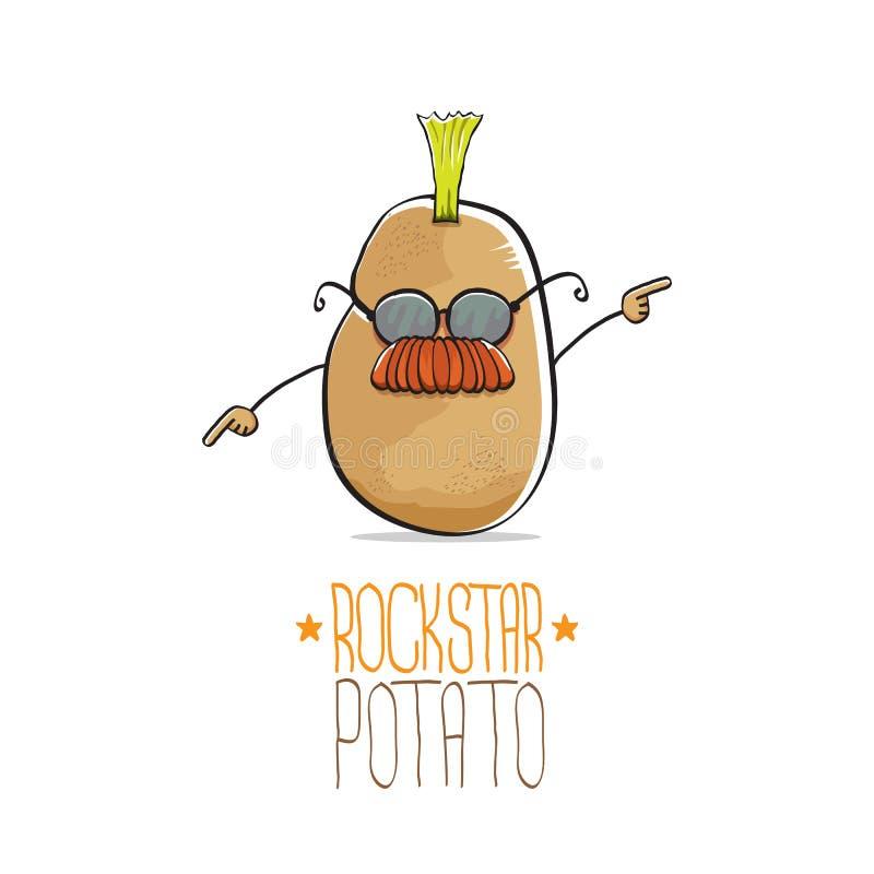 Διανυσματικός αστείος χαρακτήρας πατατών αστέρων της ροκ κινούμενων σχεδίων χαριτωμένος καφετής πανκ με Iroquois που απομονώνοντα ελεύθερη απεικόνιση δικαιώματος