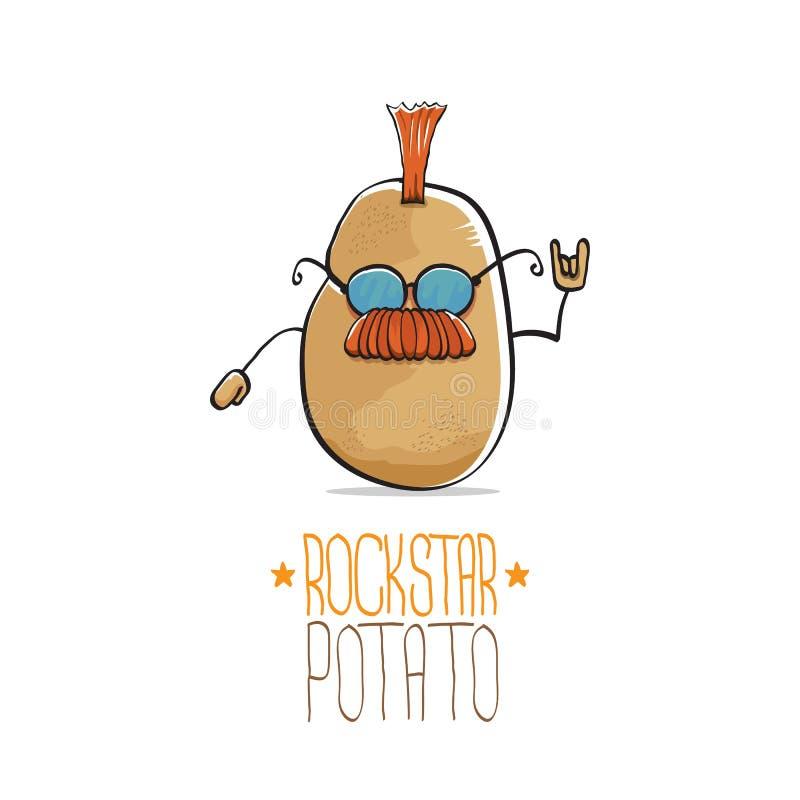 Διανυσματικός αστείος χαρακτήρας πατατών αστέρων της ροκ κινούμενων σχεδίων χαριτωμένος καφετής πανκ με Iroquois που απομονώνοντα απεικόνιση αποθεμάτων