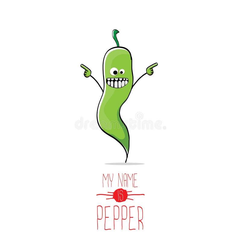 Διανυσματικός αστείος χαρακτήρας πιπεριών κινούμενων σχεδίων πράσινος διανυσματική απεικόνιση