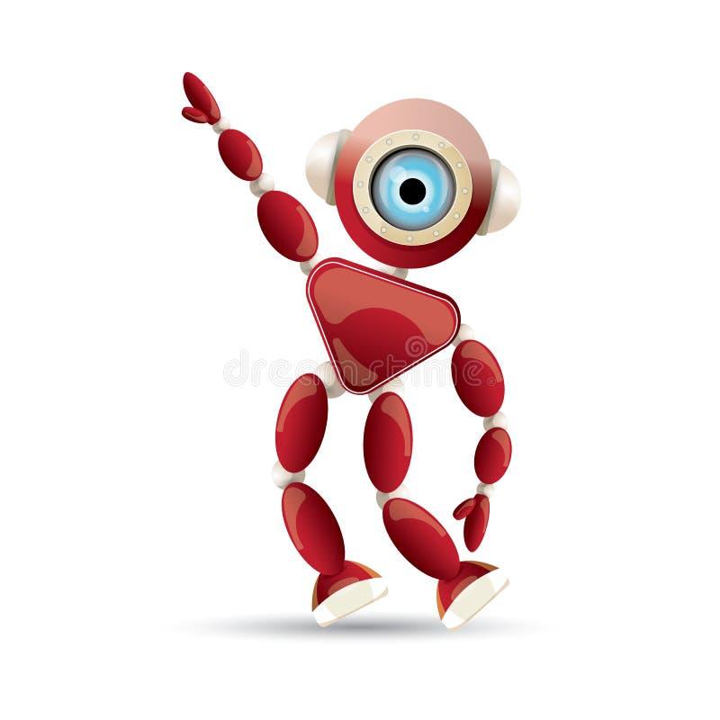 Διανυσματικός αστείος χαρακτήρας ρομπότ κινούμενων σχεδίων κόκκινος φιλικός που απομονώνεται στο άσπρο υπόβαθρο Τρισδιάστατο παιχ διανυσματική απεικόνιση