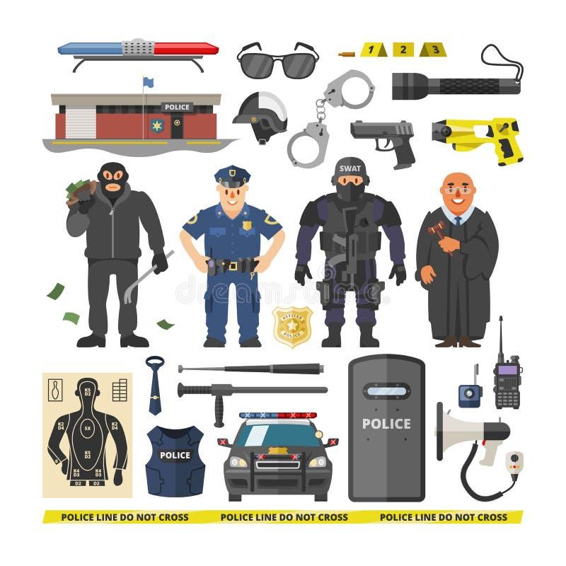 Διανυσματικός αστυνομικός ανθρώπων αστυνομίας και εγκληματικό σύνολο απεικόνισης χαρακτήρων πολιτικό policeofficer στην αλεξίσφαι διανυσματική απεικόνιση