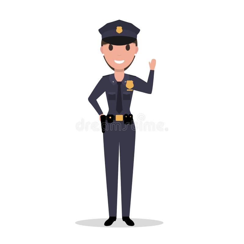 Διανυσματικός αστυνομικός γυναικών κινούμενων σχεδίων σε ομοιόμορφο διανυσματική απεικόνιση