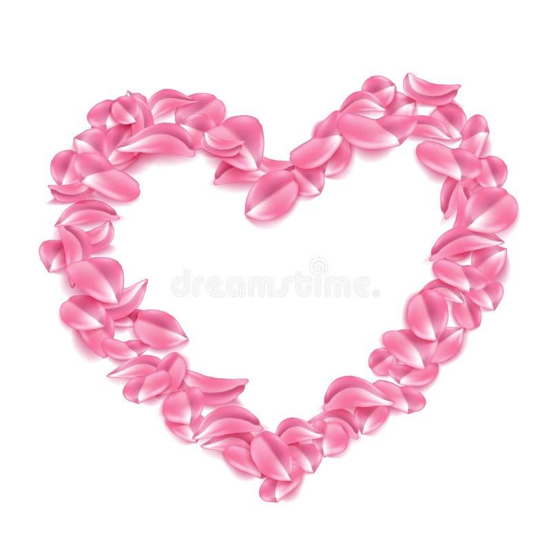 Διανυσματικός αυξήθηκε, κεράσι, πέταλο sakura στη μορφή καρδιών διανυσματική απεικόνιση