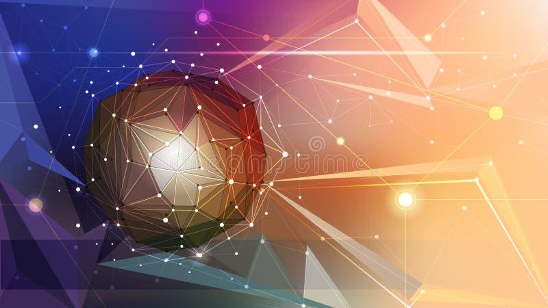 Διανυσματικός αφηρημένος τρισδιάστατος γεωμετρικός απεικόνισης, Polygonal, σχέδιο τριγώνων στη μορφή δομών μορίων ελεύθερη απεικόνιση δικαιώματος