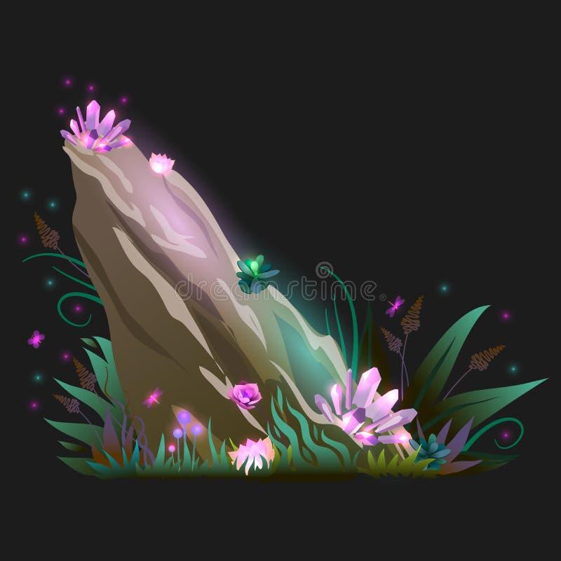 Διανυσματικός βράχος φαντασίας, πέτρα με τη χλόη, μεταλλεύματα, πολύτιμοι λίθοι και έντομο απεικόνιση αποθεμάτων