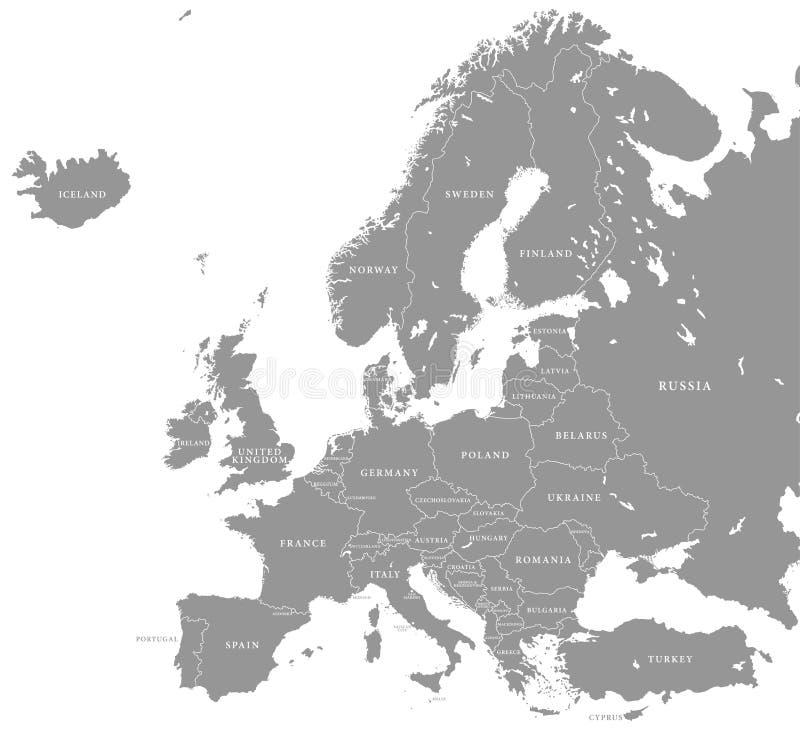 Διανυσματικός γκρίζος χάρτης της Ευρώπης ελεύθερη απεικόνιση δικαιώματος