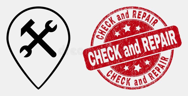 Διανυσματικός γραμμικός έλεγχος εικονιδίων και κινδύνου δεικτών χαρτών υπηρεσιών και σφραγίδα γραμματοσήμων επισκευής απεικόνιση αποθεμάτων