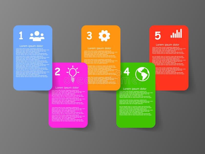 Διανυσματικός γραφικός με πέντε κιβώτια Ιστού πληροφοριών χρώματος με τα εικονίδια και τη σκιά διανυσματική απεικόνιση