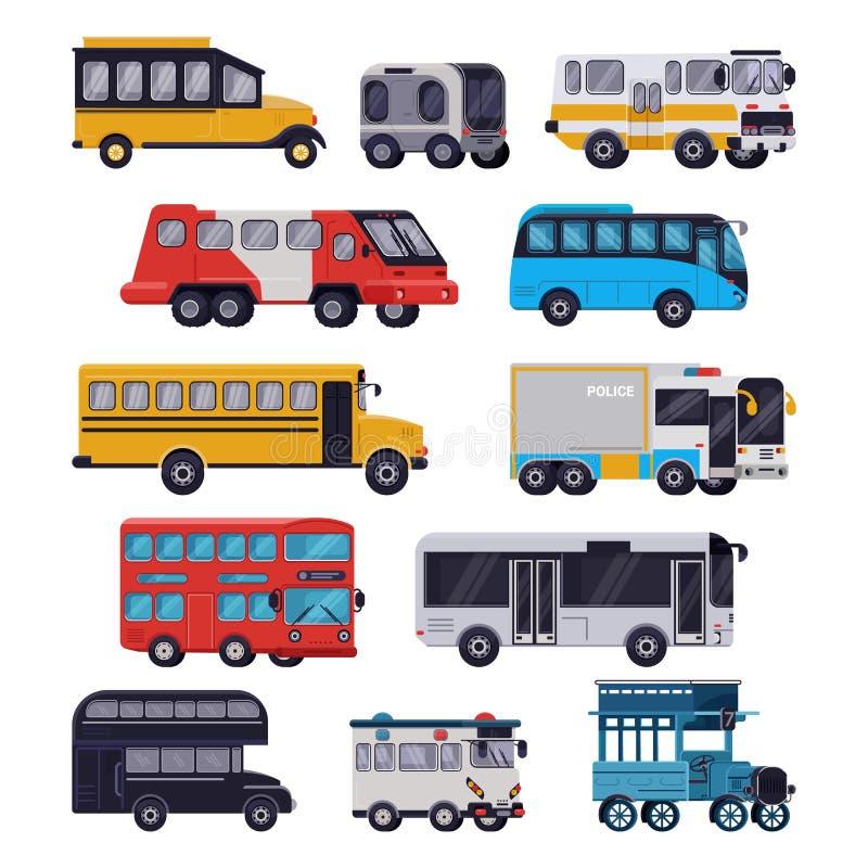 Διανυσματικός γύρος δημόσιων συγκοινωνιών λεωφορείων ή επισκέπτομαι-λεωφορείο schoolbus οχημάτων πόλεων που μεταφέρει την απεικόν ελεύθερη απεικόνιση δικαιώματος