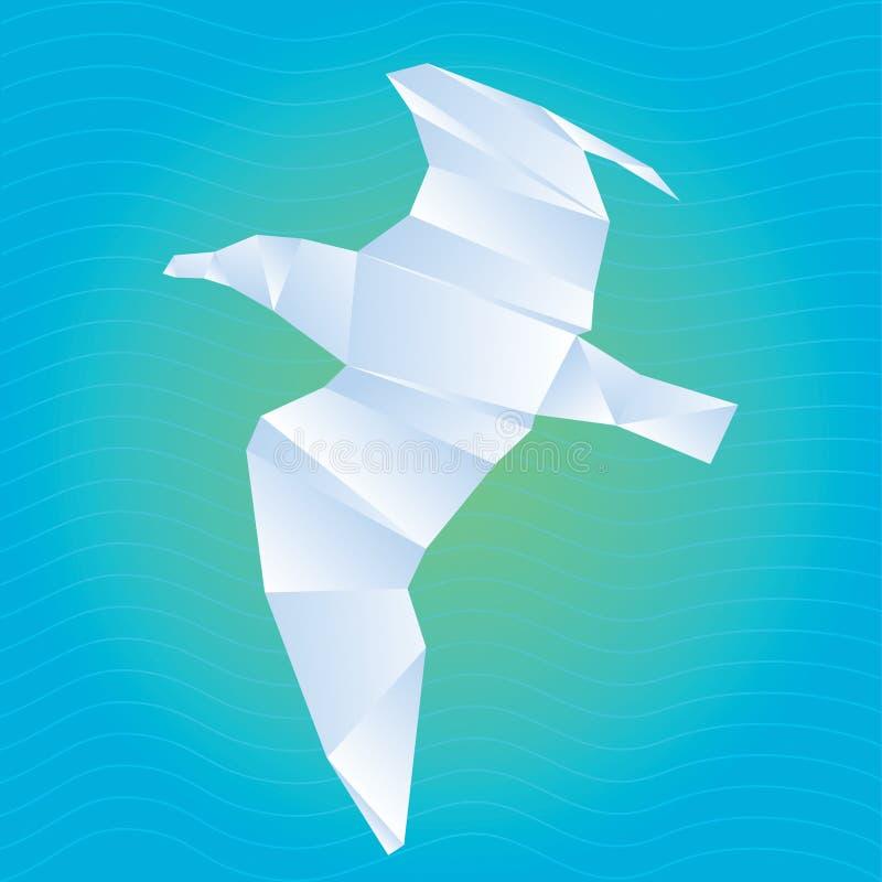 Διανυσματικός γλάρος origami διανυσματική απεικόνιση