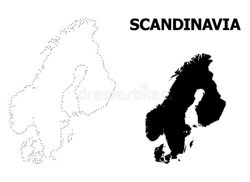 Διανυσματικός διαστιγμένος περίγραμμα χάρτης Σκανδιναβίας με τον τίτλο διανυσματική απεικόνιση