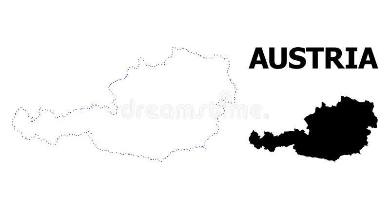 Διανυσματικός διαστιγμένος περίγραμμα χάρτης της Αυστρίας με τον τίτλο ελεύθερη απεικόνιση δικαιώματος