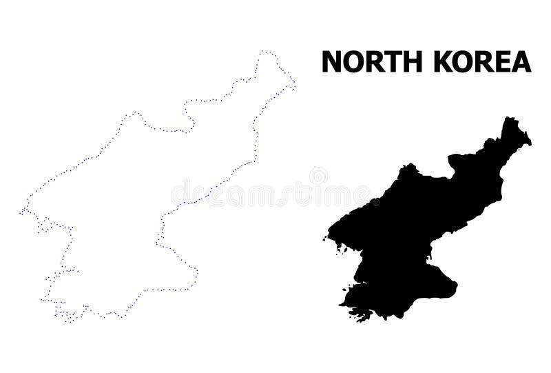 Διανυσματικός διαστιγμένος περίγραμμα χάρτης της Βόρεια Κορέας με το όνομα διανυσματική απεικόνιση