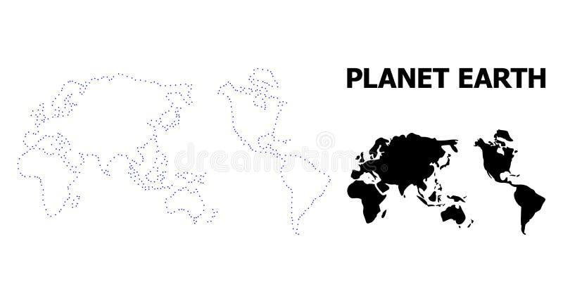 Διανυσματικός διαστιγμένος περίγραμμα χάρτης της γης με τον τίτλο διανυσματική απεικόνιση