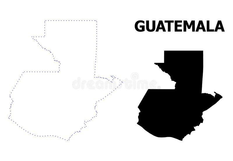 Διανυσματικός διαστιγμένος περίγραμμα χάρτης της Γουατεμάλα με τον τίτλο διανυσματική απεικόνιση