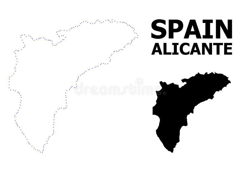 Διανυσματικός διαστιγμένος περίγραμμα χάρτης της επαρχίας της Αλικάντε με τον τίτλο απεικόνιση αποθεμάτων
