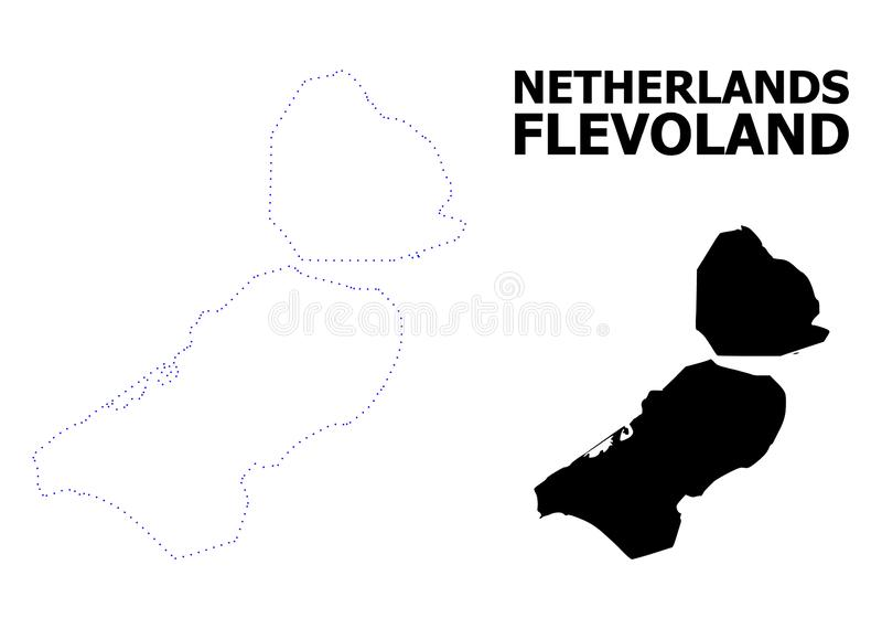 Διανυσματικός διαστιγμένος περίγραμμα χάρτης της επαρχίας του Flevoland με το όνομα διανυσματική απεικόνιση