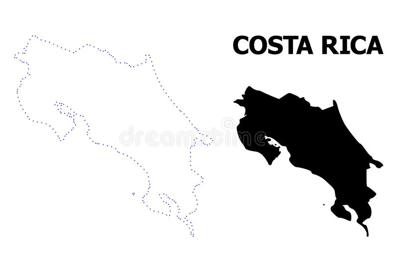 Διανυσματικός διαστιγμένος περίγραμμα χάρτης της Κόστα Ρίκα με το όνομα απεικόνιση αποθεμάτων