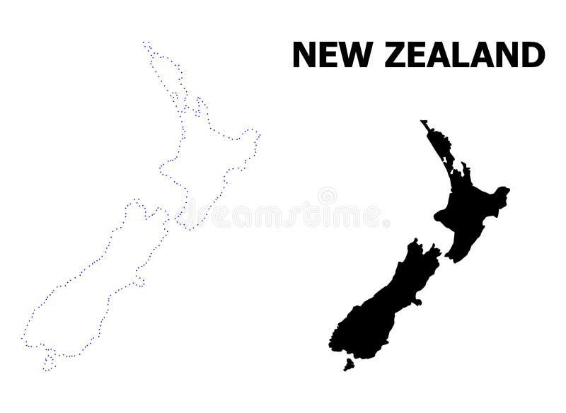 Διανυσματικός διαστιγμένος περίγραμμα χάρτης της Νέας Ζηλανδίας με το όνομα απεικόνιση αποθεμάτων