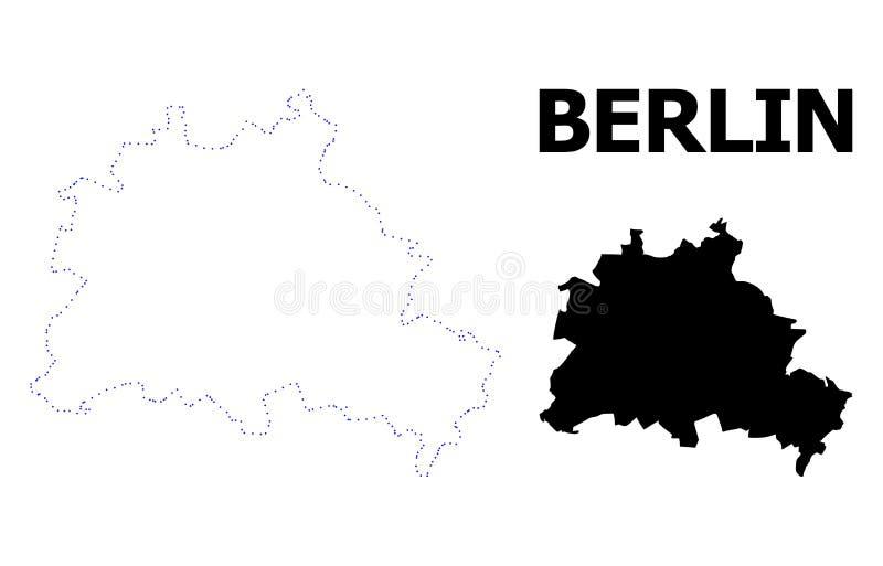 Διανυσματικός διαστιγμένος περίγραμμα χάρτης της πόλης του Βερολίνου με τον τίτλο απεικόνιση αποθεμάτων