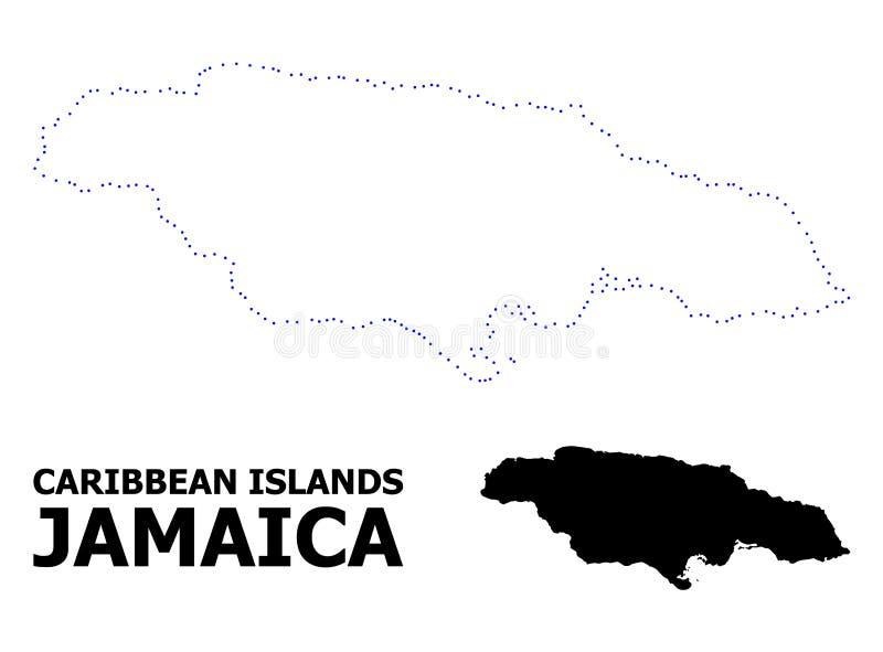 Διανυσματικός διαστιγμένος περίγραμμα χάρτης της Τζαμάικας με τον τίτλο απεικόνιση αποθεμάτων