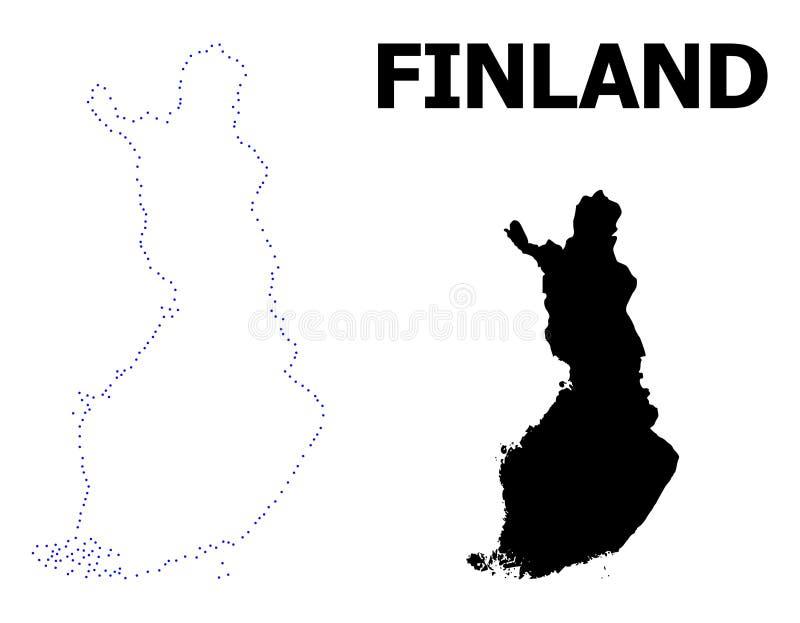 Διανυσματικός διαστιγμένος περίγραμμα χάρτης της Φινλανδίας με τον τίτλο διανυσματική απεικόνιση