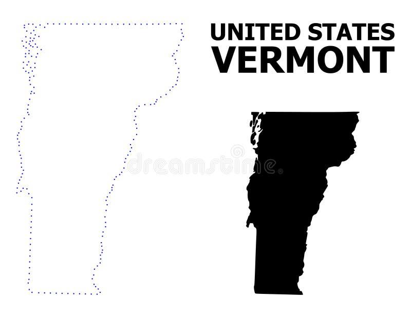 Διανυσματικός διαστιγμένος περίγραμμα χάρτης του κράτους του Βερμόντ με τον τίτλο διανυσματική απεικόνιση