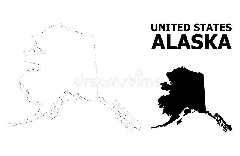 Διανυσματικός διαστιγμένος περίγραμμα χάρτης του κράτους της Αλάσκας με το όνομα απεικόνιση αποθεμάτων