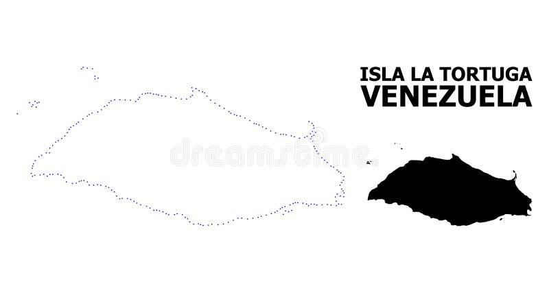 Διανυσματικός διαστιγμένος περίγραμμα χάρτης του Λα Tortuga της Isla με τον τίτλο διανυσματική απεικόνιση