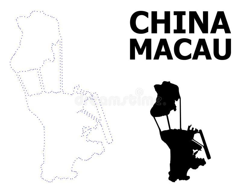Διανυσματικός διαστιγμένος περίγραμμα χάρτης του Μακάο με το όνομα απεικόνιση αποθεμάτων