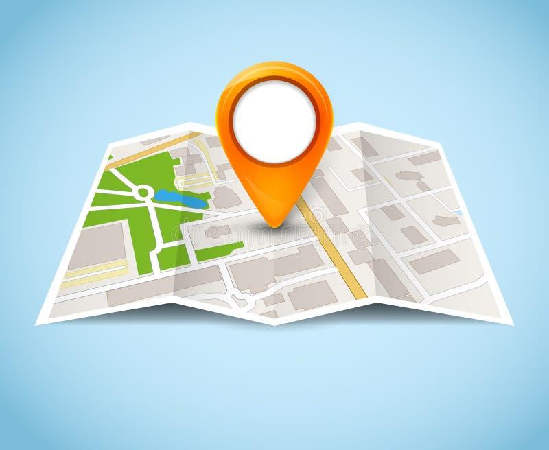 Διανυσματικός δρόμος εικονιδίων καρφιτσών ΠΣΤ χαρτών Δείκτης οδών εγχώριων πόλεων ταξιδιού Απεικόνιση ΠΣΤ ναυσιπλοΐας ελεύθερη απεικόνιση δικαιώματος