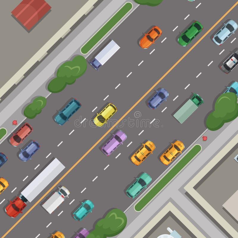 Διανυσματικός δρόμος πόλεων με τα αυτοκίνητα με τα κτήρια, τη χλόη και τα δέντρα στη τοπ απεικόνιση άποψης περιθωρίων ελεύθερη απεικόνιση δικαιώματος