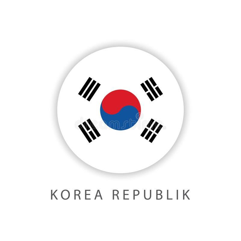 Διανυσματικός εικονογράφος σχεδίου προτύπων σημαιών κουμπιών Δημοκρατίας της Κορέας διανυσματική απεικόνιση