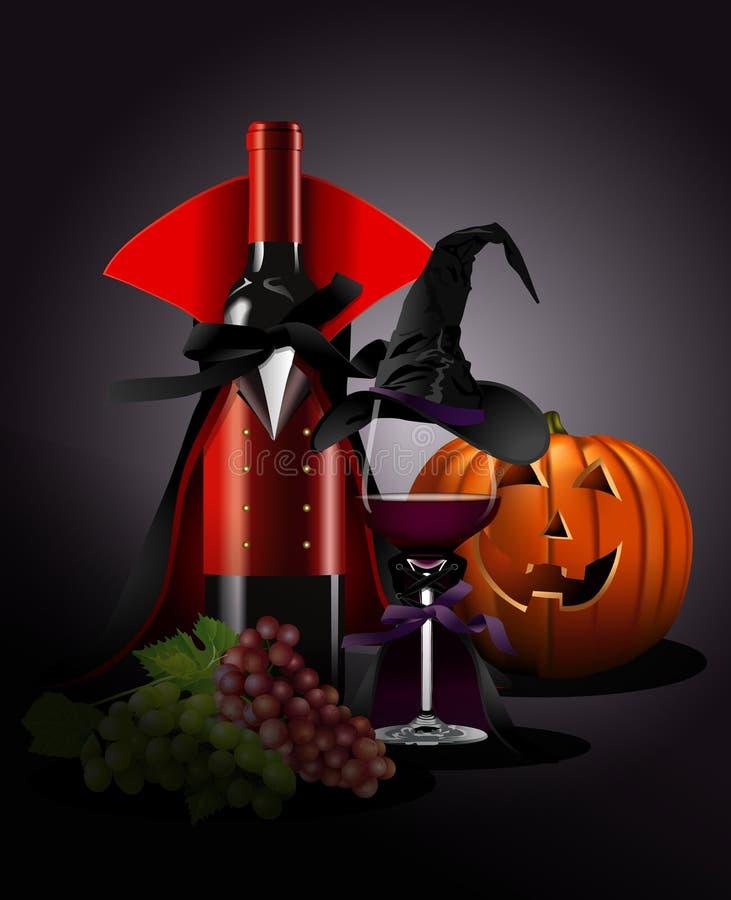 Διανυσματικός εικονογράφος του γυαλιού και του μπουκαλιού κρασιού σε Dracula και τη μάγισσα ελεύθερη απεικόνιση δικαιώματος
