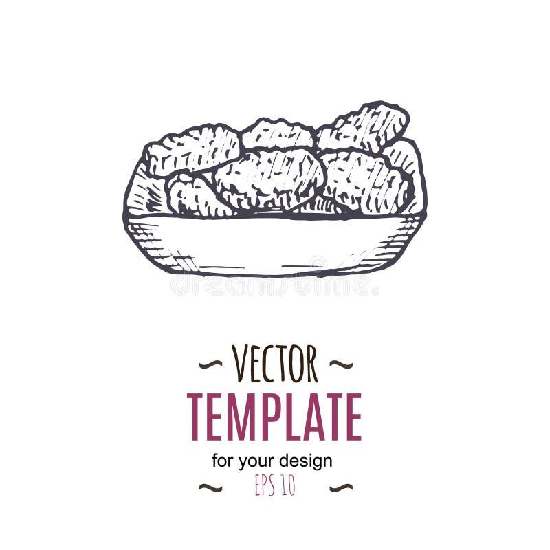 Διανυσματικός εκλεκτής ποιότητας σχεδιασμός ψηγμάτων Συρμένη χέρι μονοχρωματική απεικόνιση γρήγορου φαγητού απεικόνιση αποθεμάτων