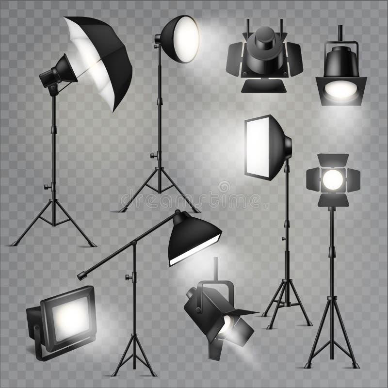 Διανυσματικός ελαφρύς επικέντρων παρουσιάζει στούντιο με τους λαμπτήρες σημείων στο σύνολο σκηνικής απεικόνισης θεάτρων φωτογράφι ελεύθερη απεικόνιση δικαιώματος