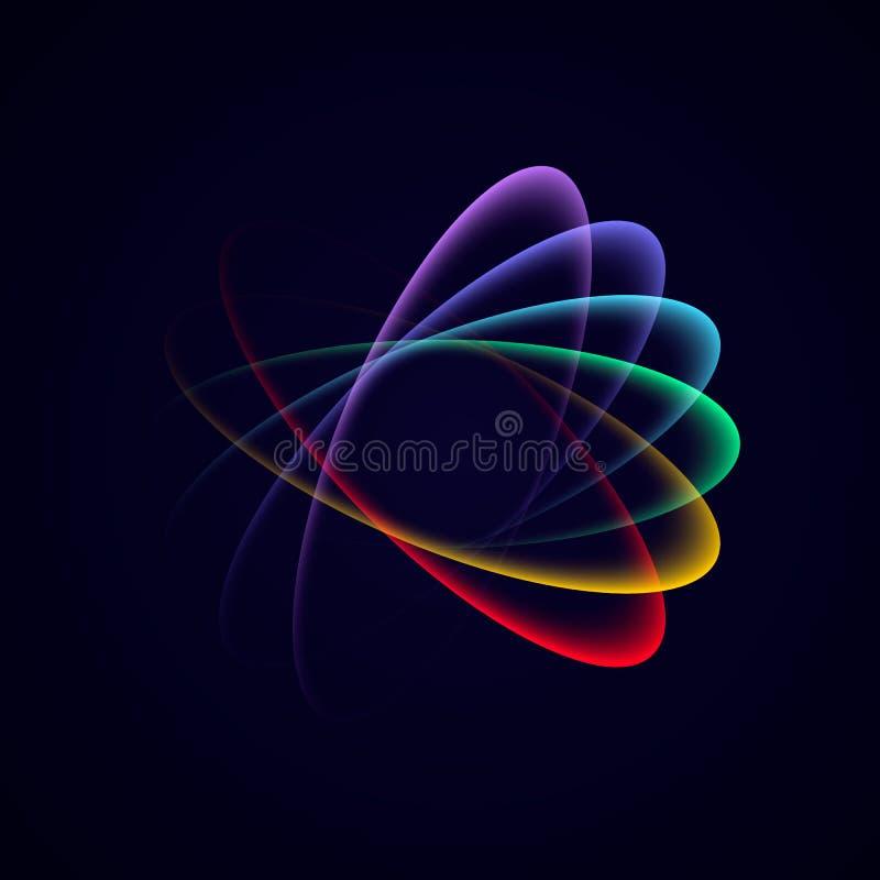 Διανυσματικός ελαφρύς κύκλος νέου στην κίνηση Αφηρημένος φωτεινός πολύχρωμος βρόχος νέου με τη διαφάνεια ελεύθερη απεικόνιση δικαιώματος