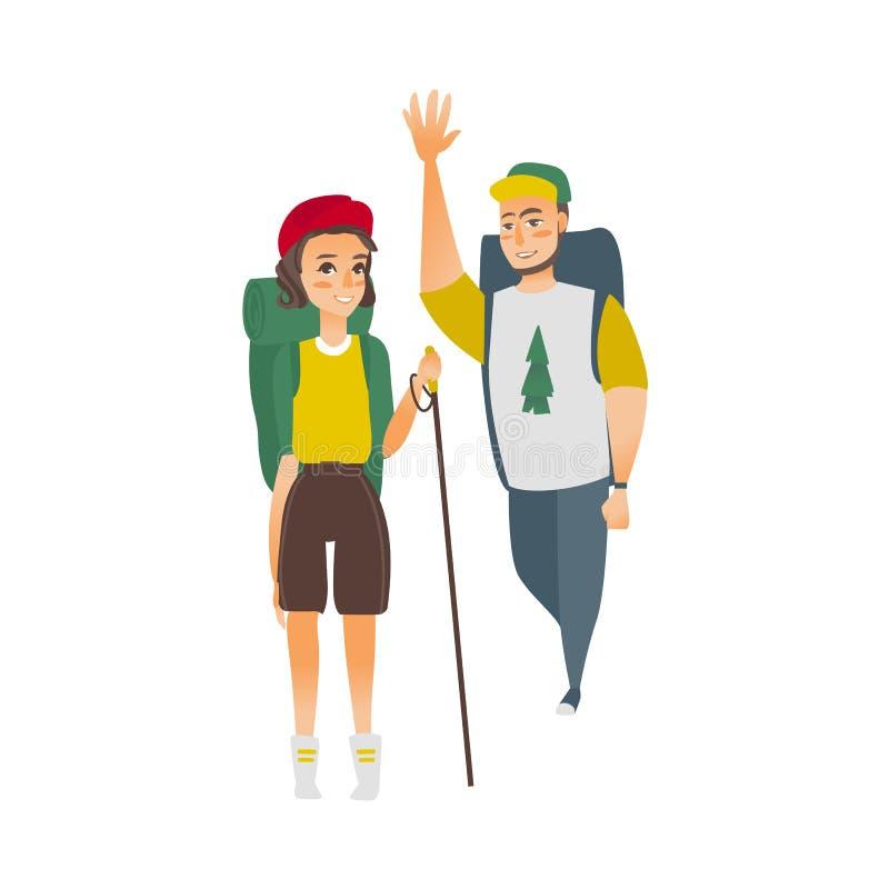 Διανυσματικός επίπεδος άνδρας, πεζοπορία τουρίστας γυναικών διανυσματική απεικόνιση