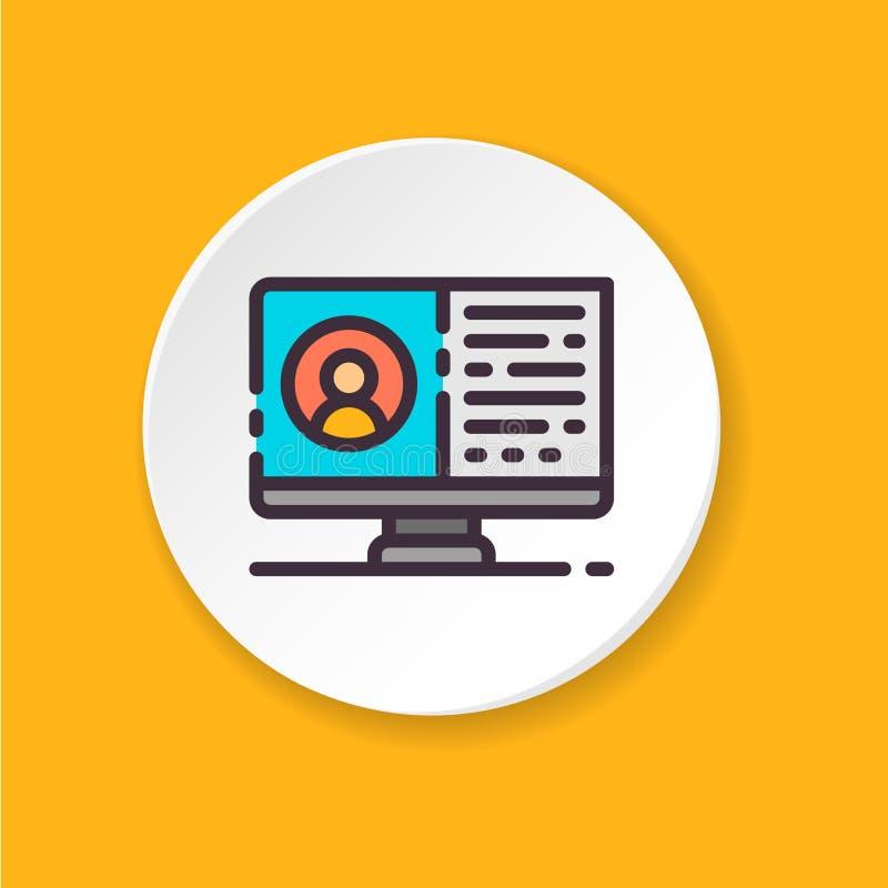 Διανυσματικός επίπεδος απολογισμός χρηστών εικονιδίων UI/UX ενδιάμεσο με τον χρήστη Κουμπί για τον Ιστό ή κινητό app απεικόνιση αποθεμάτων