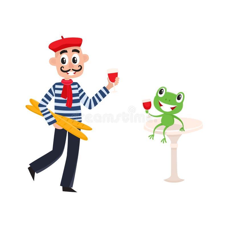 Διανυσματικός επίπεδος γαλλικός νεαρός άνδρας με το κρασί, baguette απεικόνιση αποθεμάτων