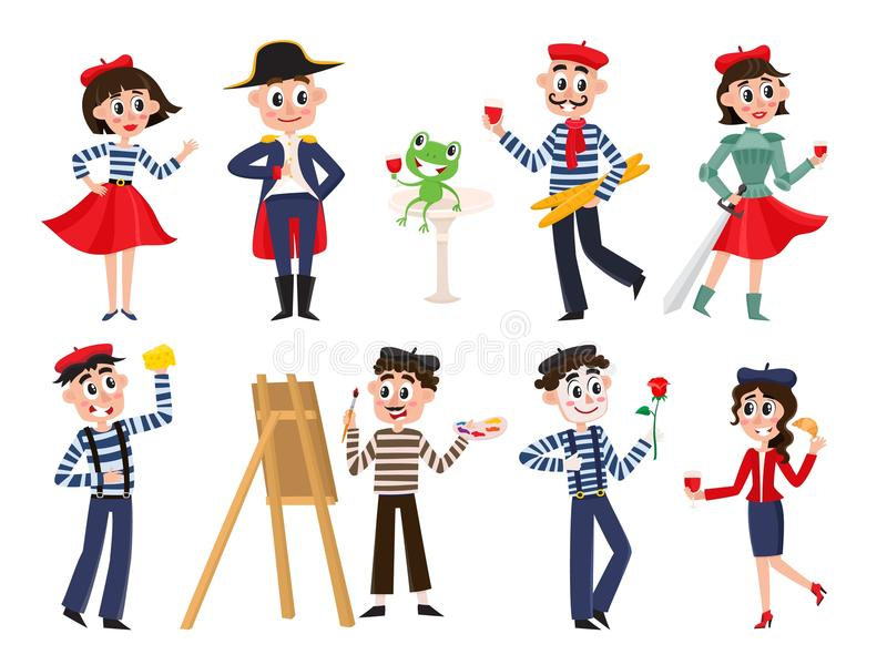 Διανυσματικός επίπεδος γαλλικός πολιτισμός, άνθρωποι μόδας καθορισμένοι ελεύθερη απεικόνιση δικαιώματος