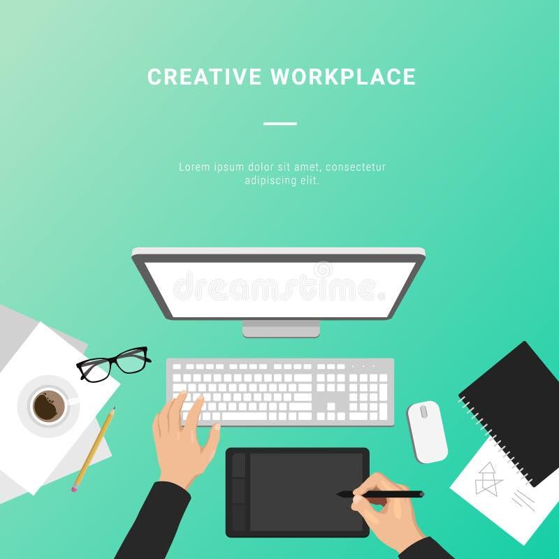 Διανυσματικός επίπεδος δημιουργικός εργασιακός χώρος με τον υπολογιστή, χέρι που επισύρει την προσοχή σε GR ελεύθερη απεικόνιση δικαιώματος