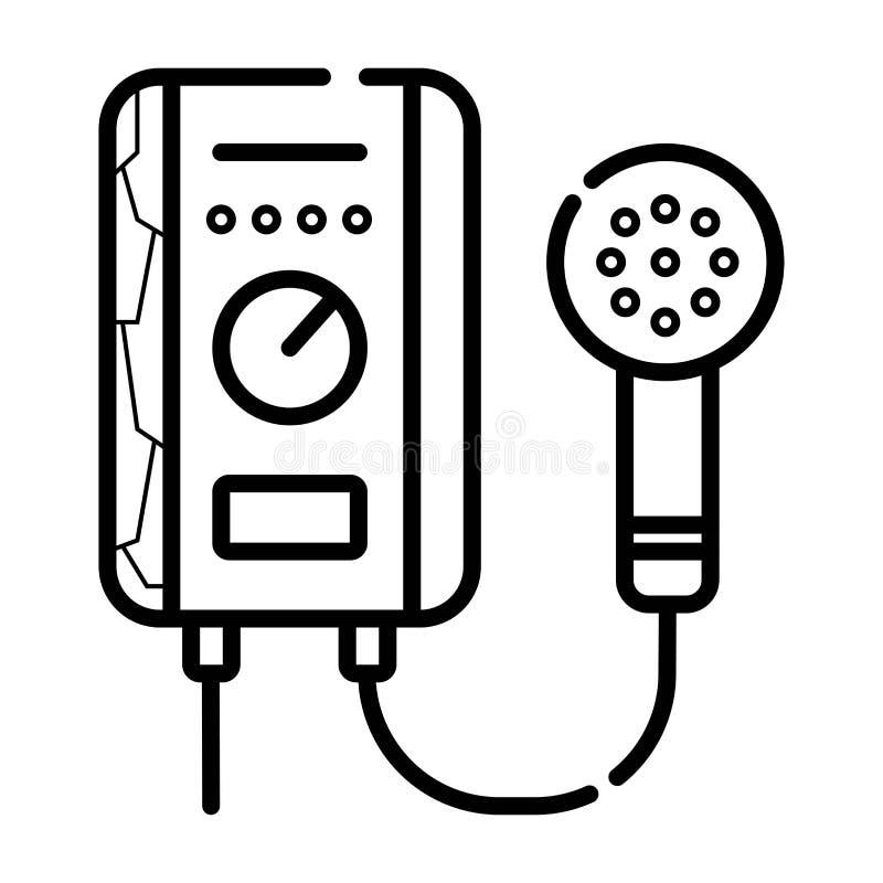 Διανυσματικός επίπεδος εξοπλισμός νερού εικονιδίων για το λουτρό, θέρμανση ηλεκτρικός διανυσματική απεικόνιση